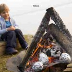 boy looking at potatoes barbecue fire